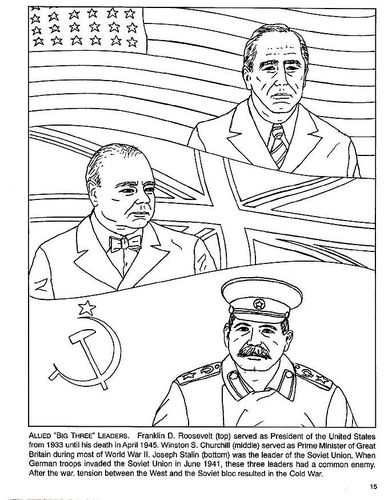 Coloring Page Of The Allies Roosevelt Churchull Stalin World - Ww2-coloring-pages