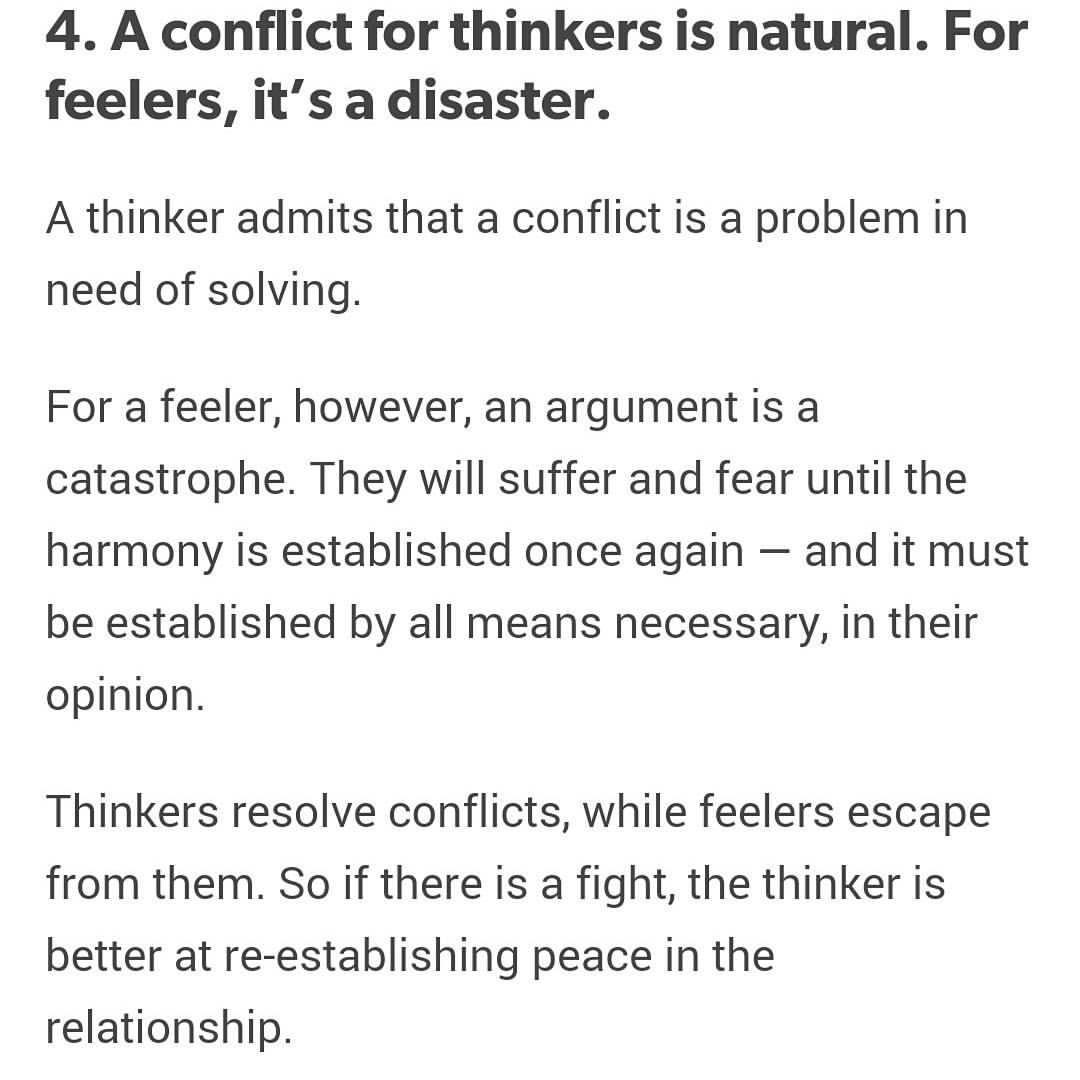 Thinker vs feeler