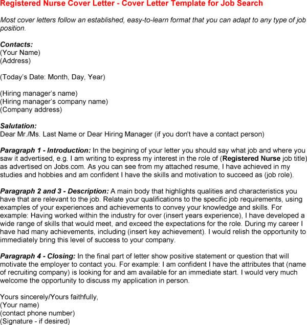 Registered Nurse Cover Letter Sample – Nurse Cover Letter Template