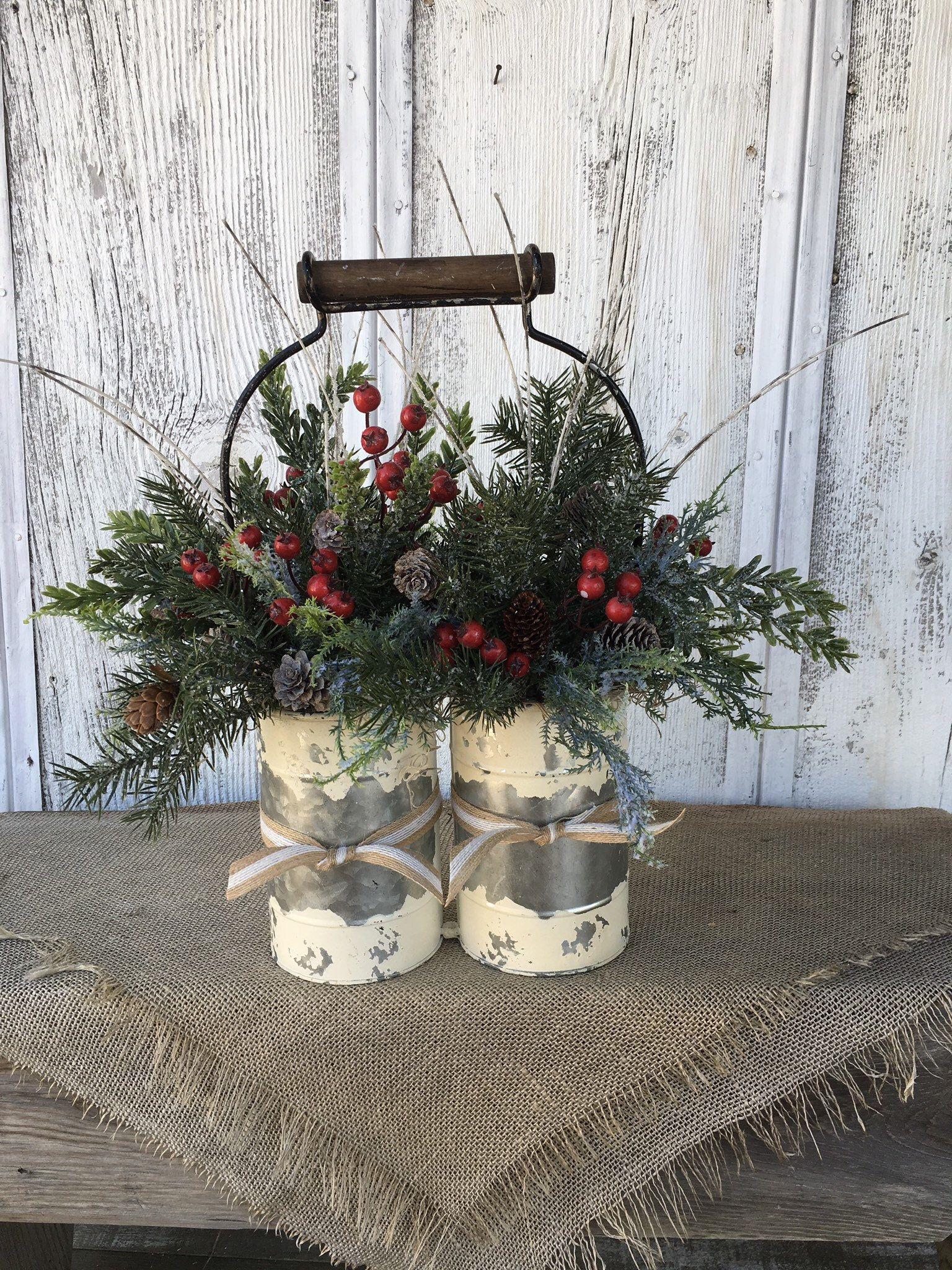 A Primitive Double Winter Arrangement Distressed Tin Etsy Christmas Centerpieces Christmas Arrangements Winter Arrangements