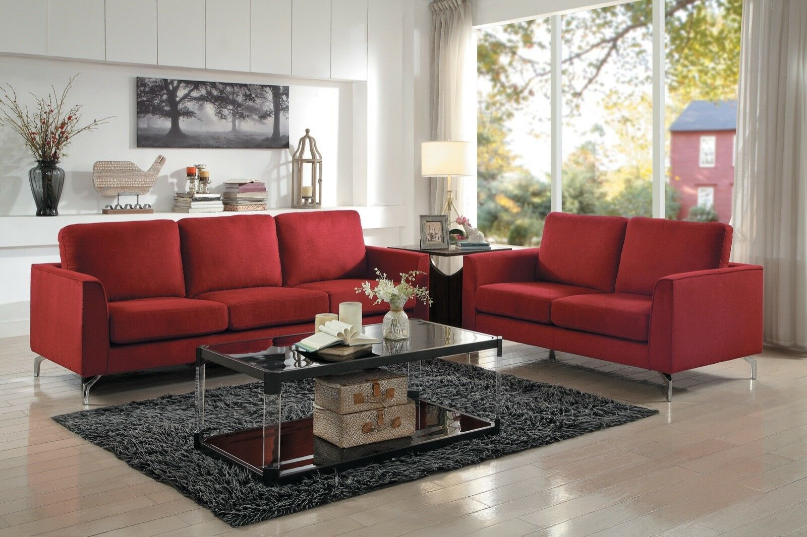 Contemporary Red Sofa Couch Loveseat Living Room Furniture Set