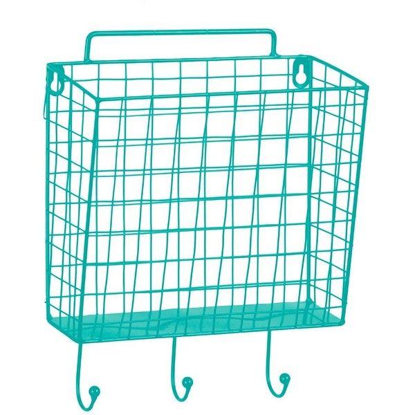 Blue Metal Mesh Basket Wall Hook ($9.98) ❤ liked on Polyvore ...