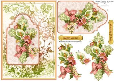 Religious Easter Or Sympathy Card Topper With Step By Step Decoupage.  Features Floral Cross, With Lilies And Spring Flowers, On A Vintage  Background.  Free Printable Religious Easter Cards