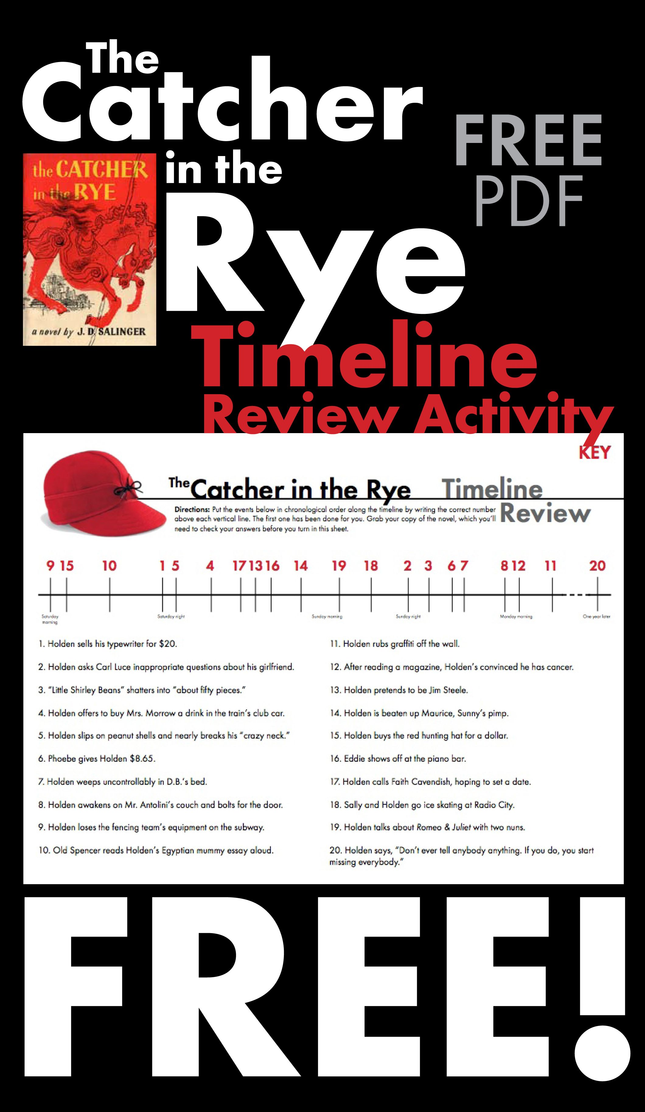 Catcher In The Rye Free Timeline Review Worksheet For J D