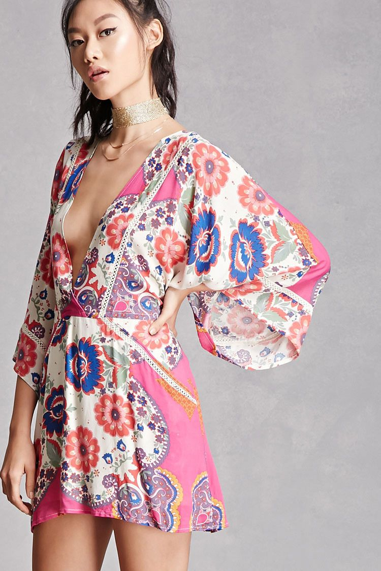 63d8a752449b A woven mini dress by Blush Noir™ featuring a floral print, plunging  neckline, 3/4 kimono sleeves, crochet inserts with geo cutouts, front slip  pockets, ...