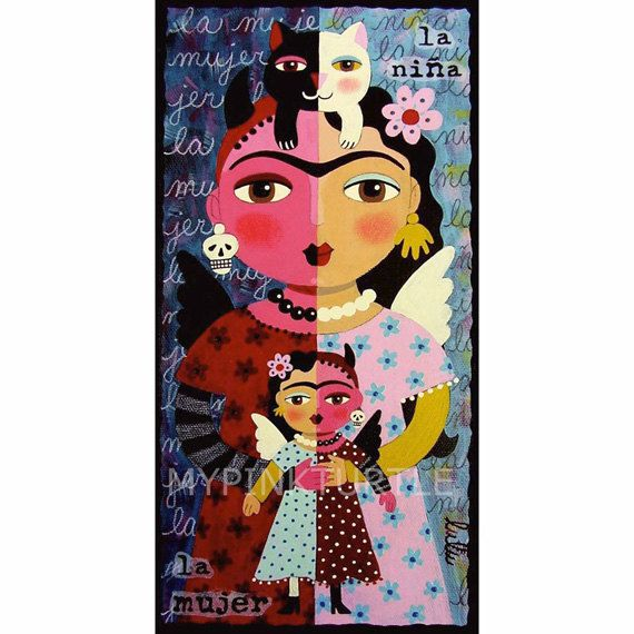 Frida Kahlo Angel Devil With Cat And Doll Print By LuLu Mypinkturtle