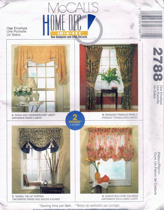 Easy Uncut Drapes Valance Jabbot Amp Cafe Curtains Patterns Mccalls 2788 This Pattern Is Uncut Complete Amp Has The With Images Home Decor Mccalls Sewing Patterns