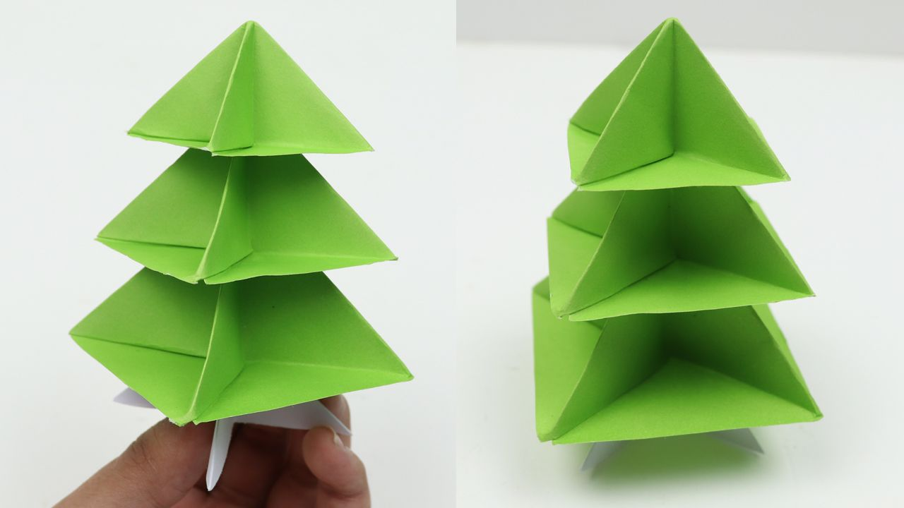 How To Make Very Easy Paper Christmas Tree 3d Diy Quick And Easy Origami Christmas Tree Tutorial Christmas Origami Paper Christmas Tree Christmas Decor Diy