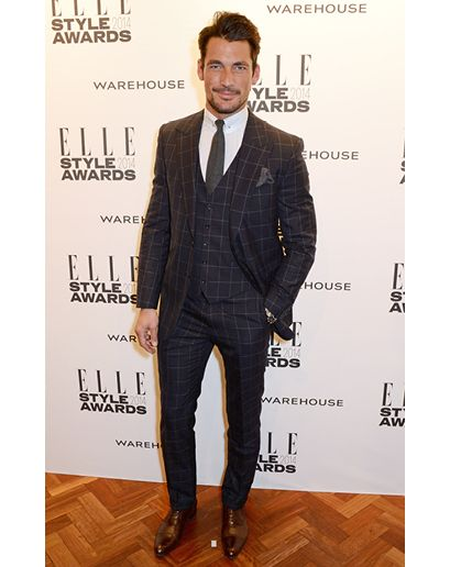 David Gandy wearing Black Check Three Piece Suit, White Dress ...