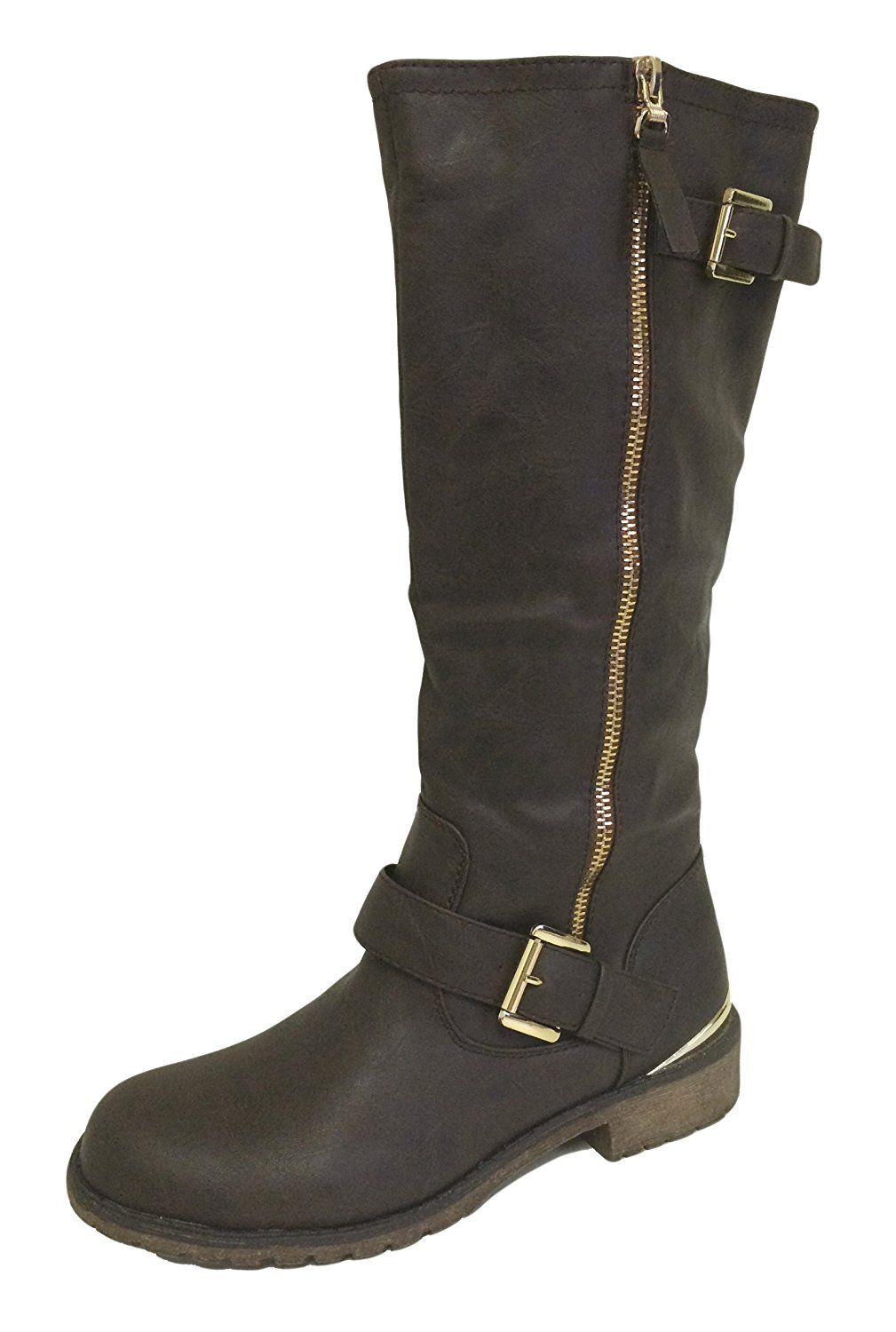 J-Camn Women's Riding Boots Faux Leather Tall Equestrian Knee High Buckle Side Zipper Gold-tone Hardware Mid Calf Straps Shoes, Black, Tan, Brown *** You can find out more details at the link of the image.