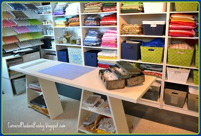 Corner of Plaid and Paisley: Craft Room Tour--Want this craft room!