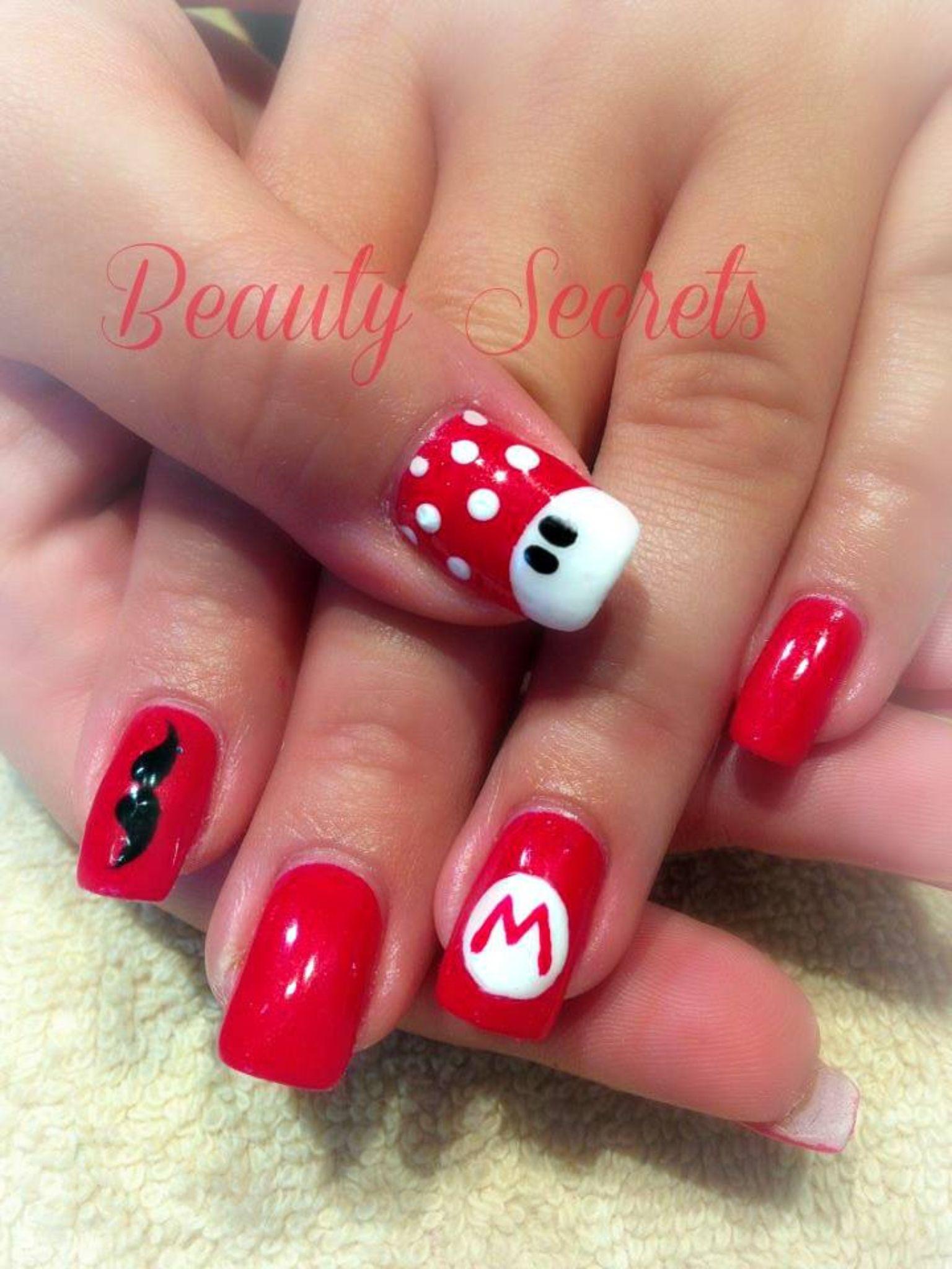 Mario nails! | Mario | Pinterest | Nail nail, Manicure and Fun nails