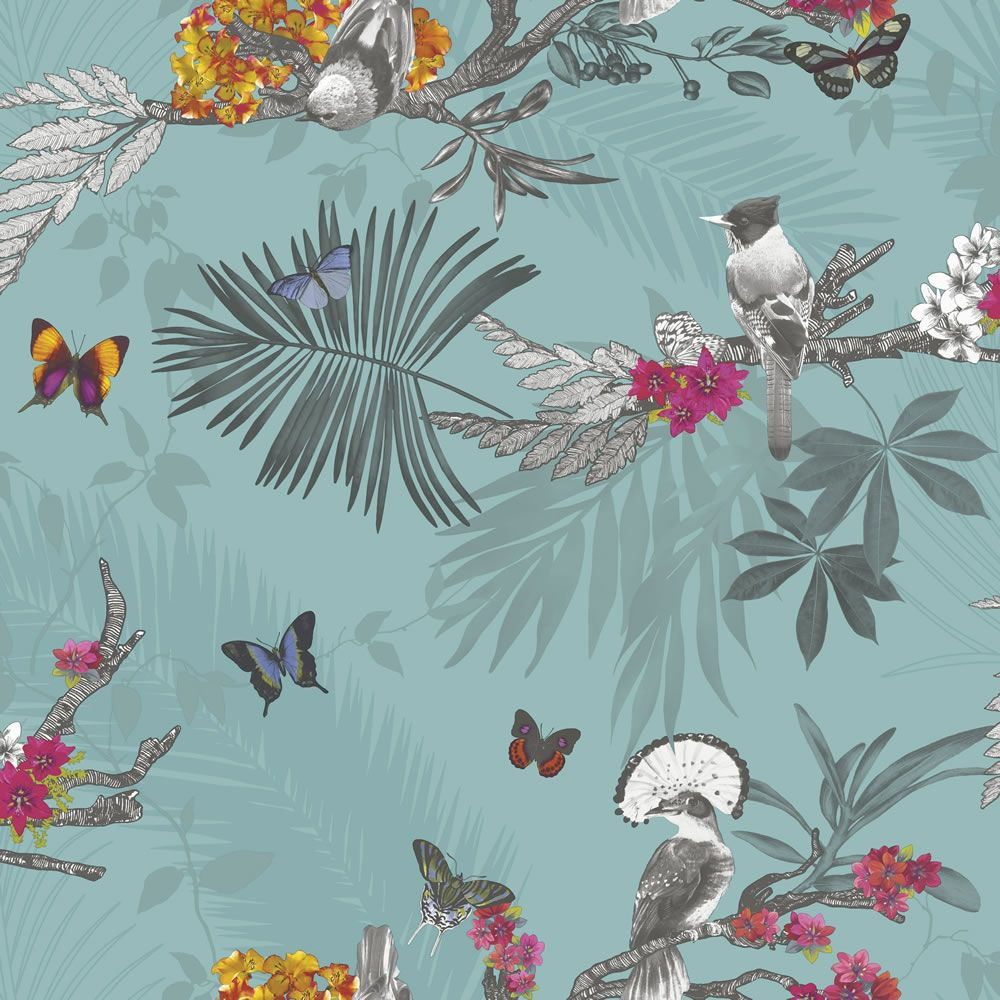 Arthouse Mystical Forest Teal Wallpaper Glitter