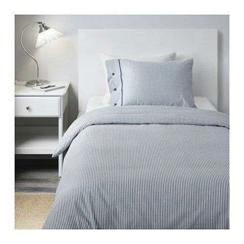 Blue Ticking Stripe Ikea Bed Linens Luxury Luxurious Bedrooms Home