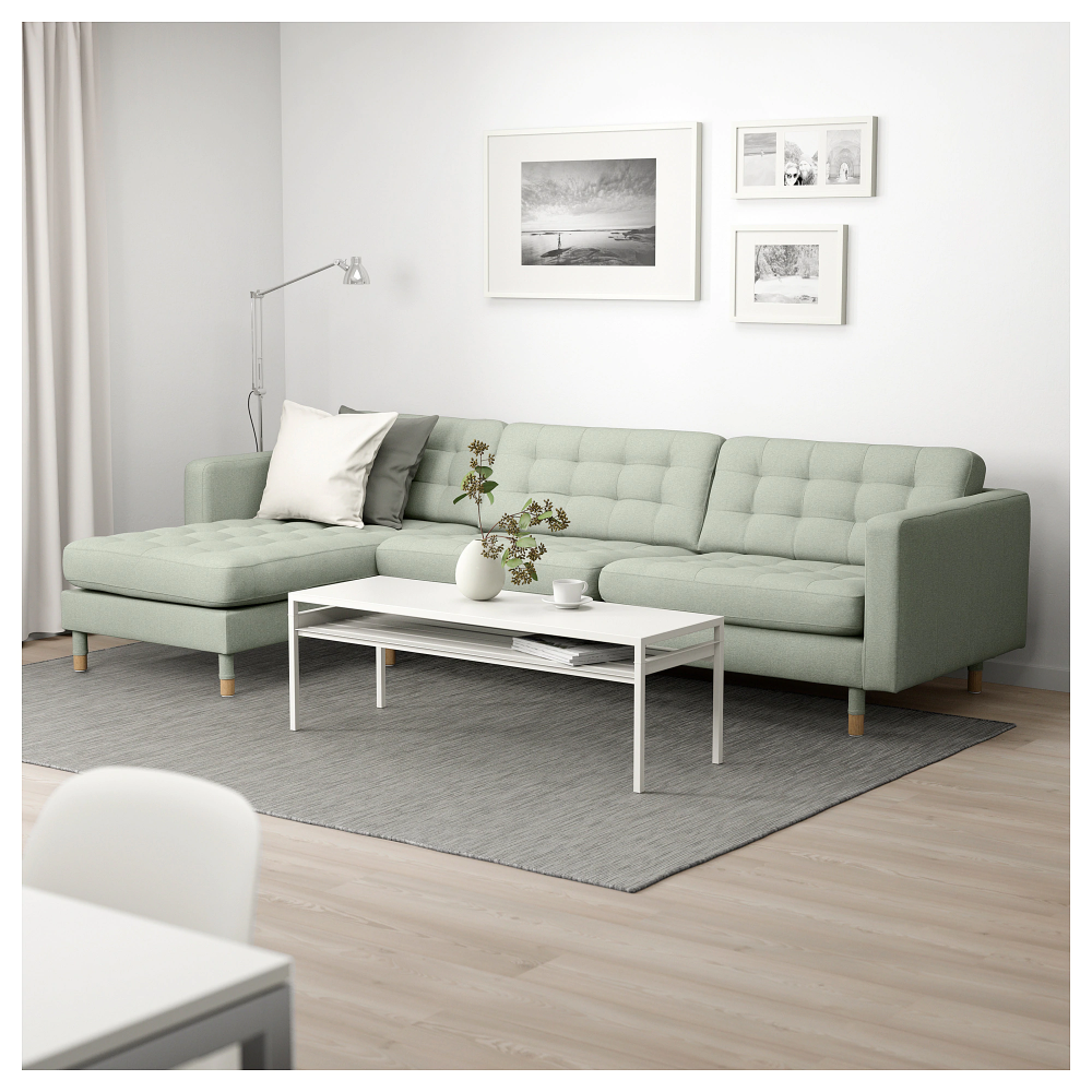 Landskrona Sectional 4 Seat With Chaise Gunnared Light Green Wood Landskrona Sofa Brown Living Room Decor Green Sofa