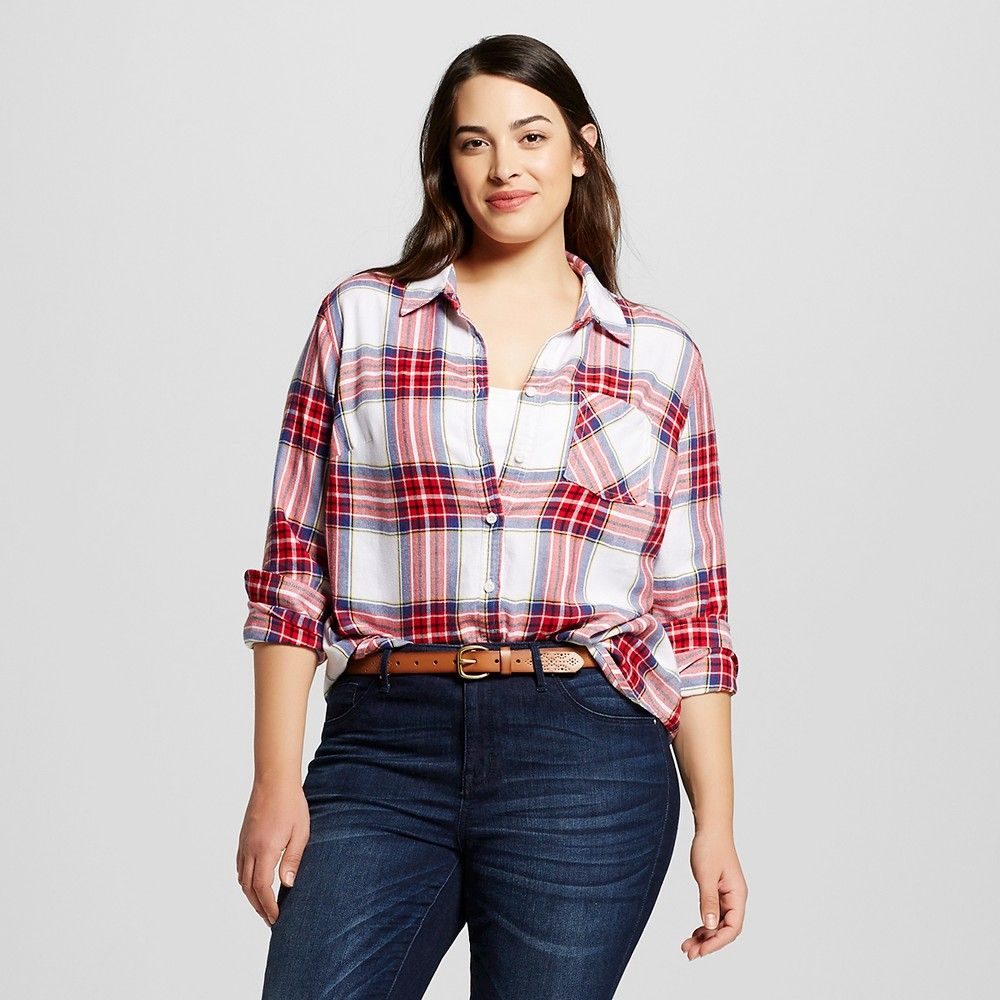 06e9c396bb6a5 Women s Plus Size Plaid Button Down Shirt - Ava   Viv - Red ...