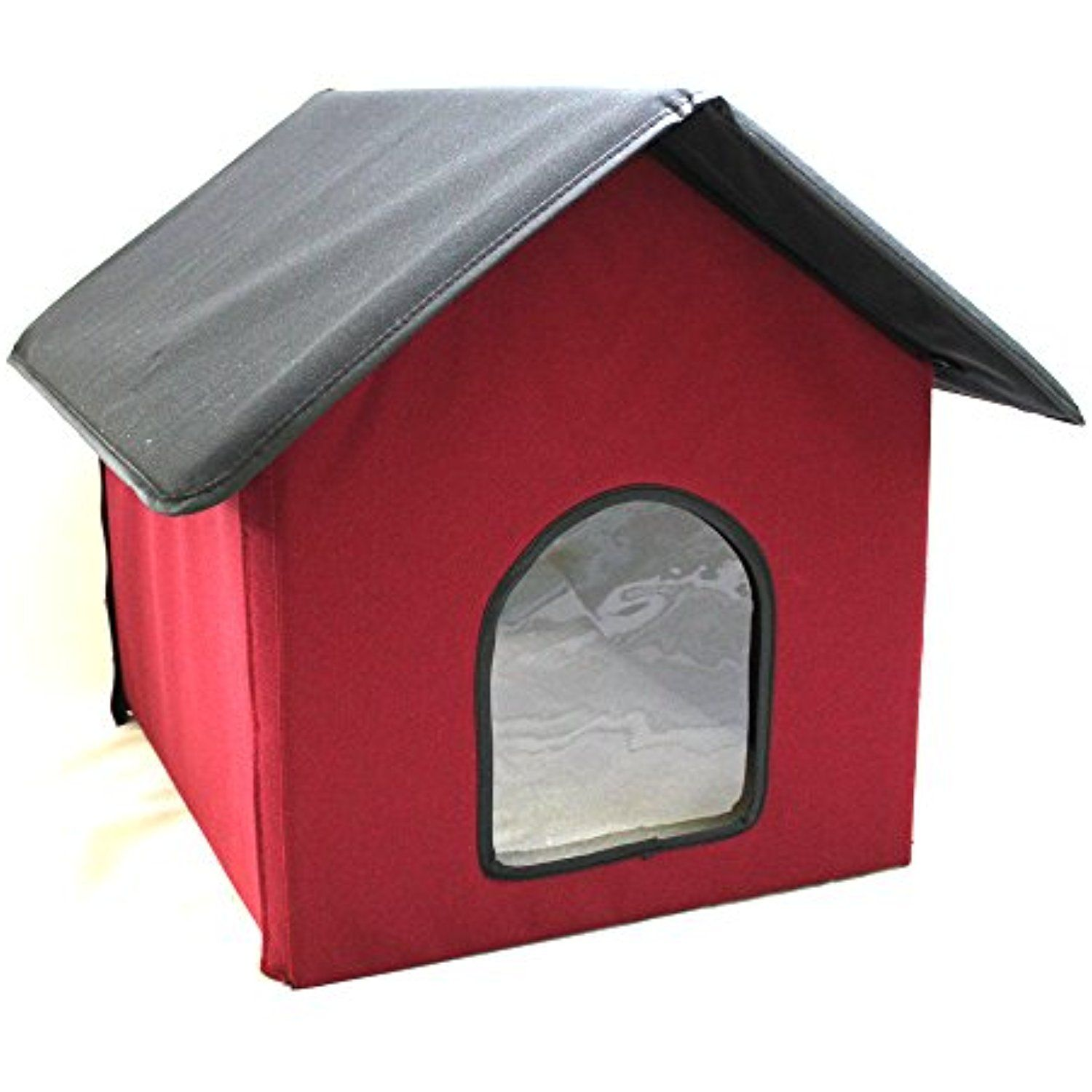 Cell Glove Soft And Safe Warm Cozy Outdoor Heated Pet Kitty Cat House Red