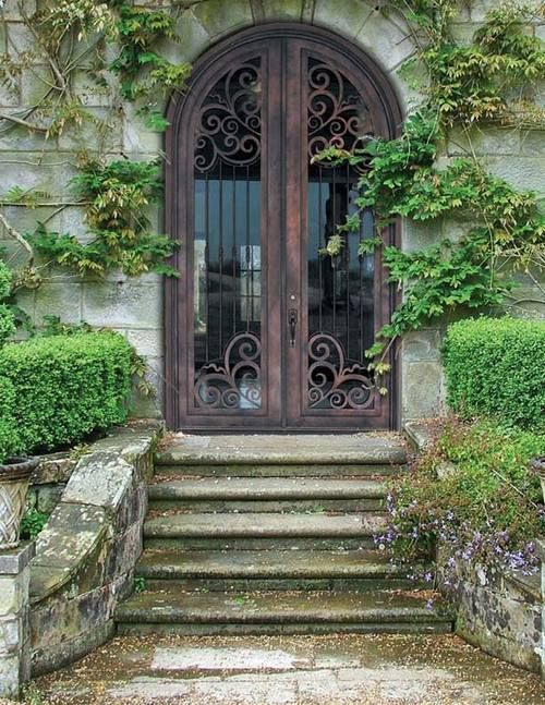 Perfect entryway for a garden lovers dream home. How can you not love a hand forged wrought iron door? Dream home. & n.d.). Retrieved February 23 2015 from http://www.cubebreaker.com ...