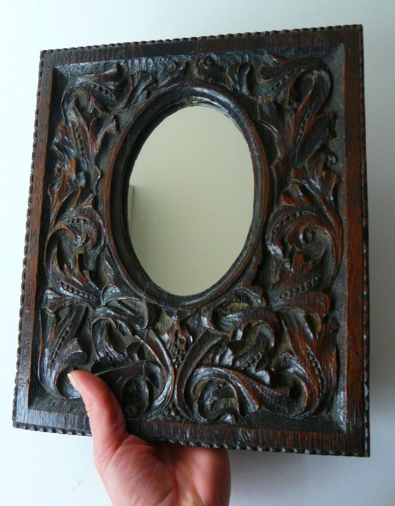Arts And Crafts Carved Oak Mirror 19th Century Stylised Foliage