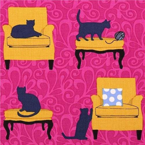 fuschia cat on chair fabric Robert Kaufman Sitting Pretty