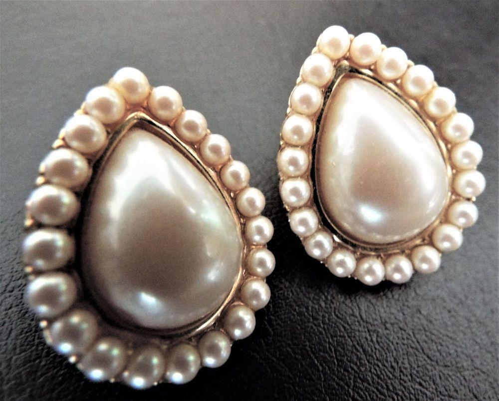 aba51f959e7 Fabulous Vintage YSL Yves Saint Laurent Gold Plated Faux Pearl Teardrop  Earrings