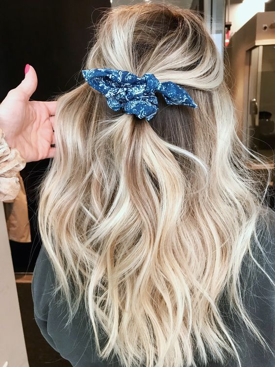 Easy half up on blonde hair with scrunchie