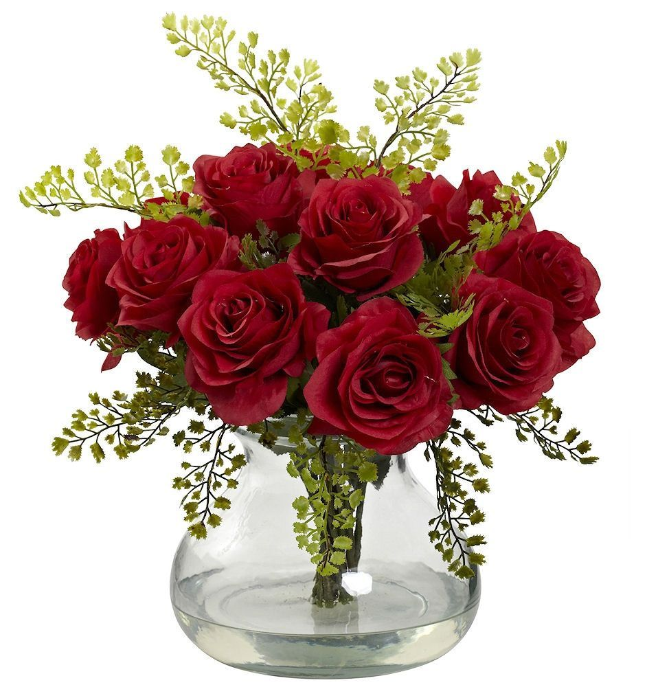 Roses & Maidenhair Silk Flowers Vase in 11 colors | 14 inches ...