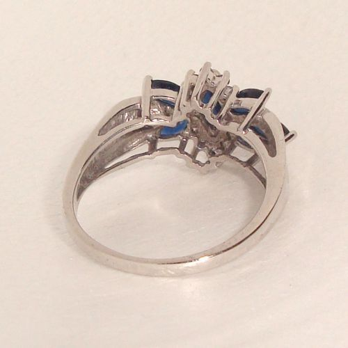 stunning-70ct-Diamond-amp-Blue-Marq-Sapphire-Solid-14K-W-Gold-Ring-Size-9-25