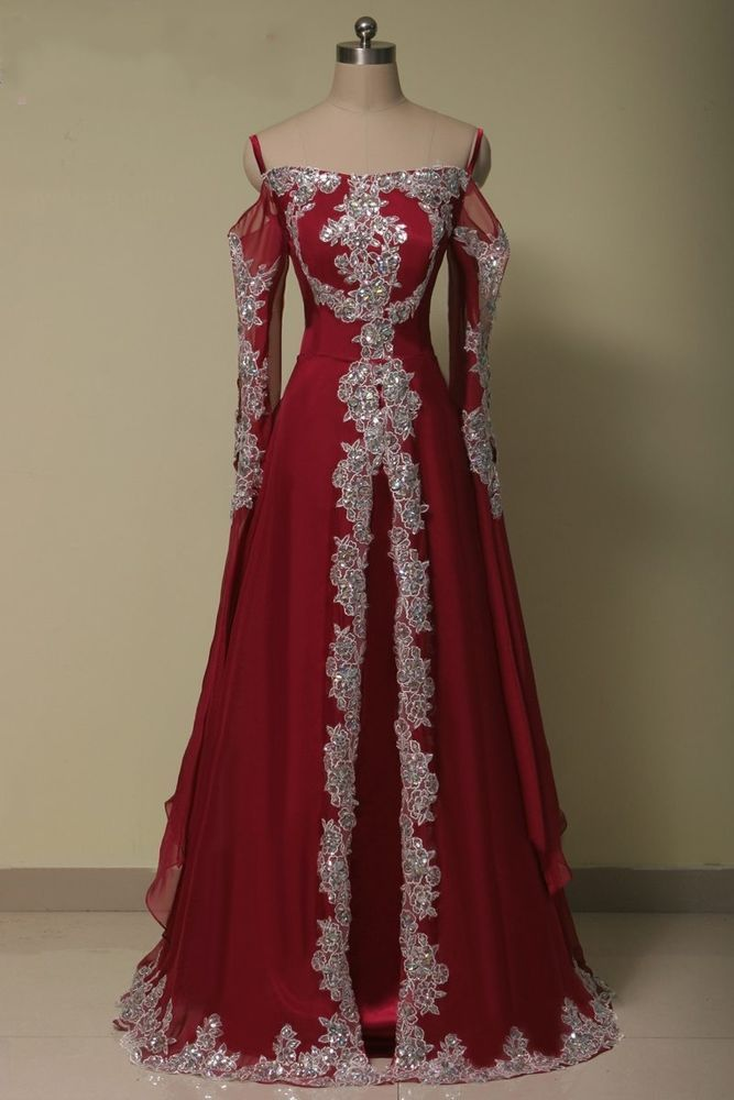 Dark Red Arabic Beaded Luxury Long Evening Party Dress Muslim Prom Ball Gown b143fe42e5b5