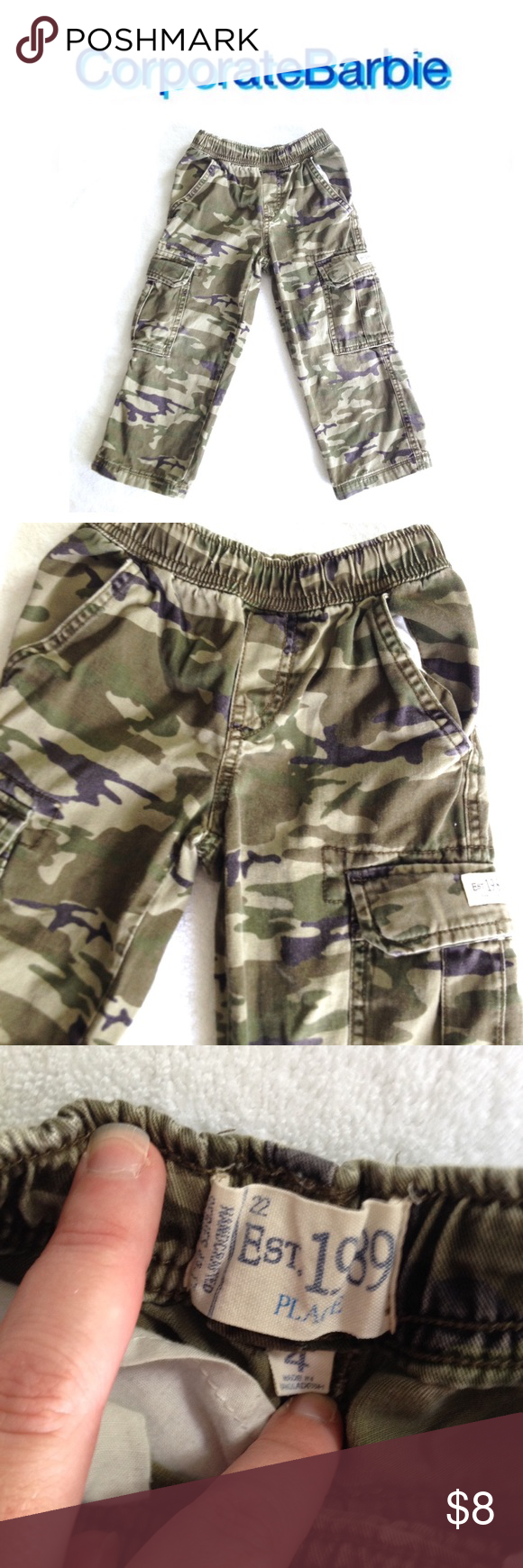 4T Camouflage Cargo Pants Pull on style camouflage cargo pants from the Children's Place. Size 4T. In good preloved condition, just some all over fading. Originally $20. Children's Place Bottoms Casual