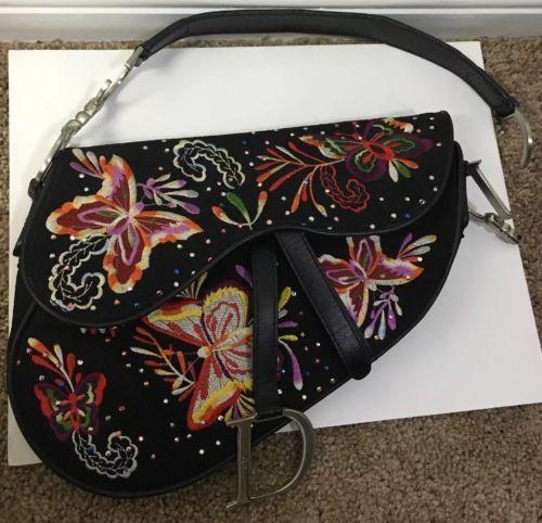 Vintage Christian Dior Black Floral Embroidered Saddle Bag Purse   embroideredeveningbags 4b8c92d260ff7
