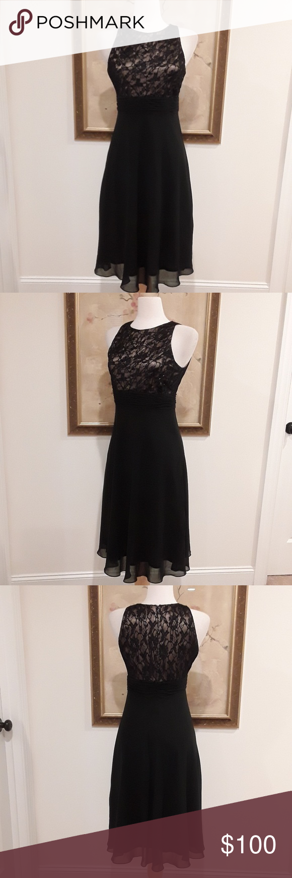 Chiffon black flowy dress colour black bodice and flow
