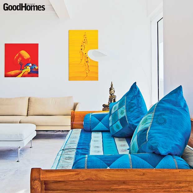 Blue Settee Adding The Splash Of Color To This Contemporary Room Featured In Good Homes Magazine