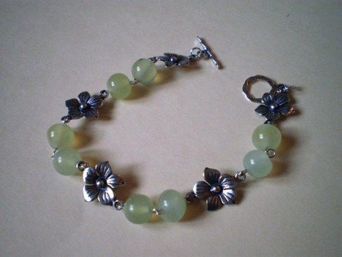 Untiqued 925 Sterling Silver Plum Flower in Natural Jade Bracelet | ZPG - Jewelry on ArtFire