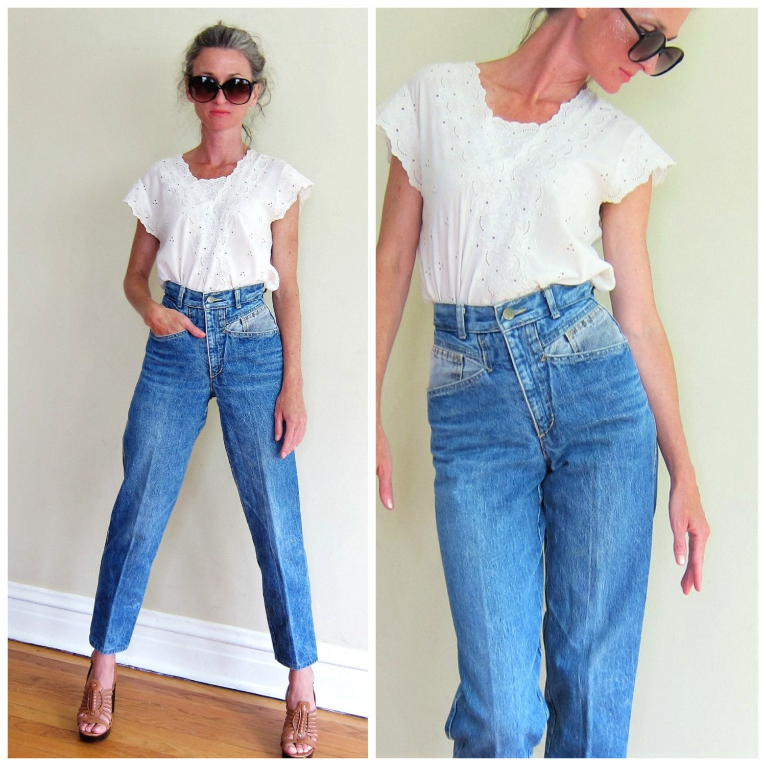 Vintage 1980s Guess Blue Denim Jeans / 80s Designer Blue Jeans High Waisted  Two Toned / Small