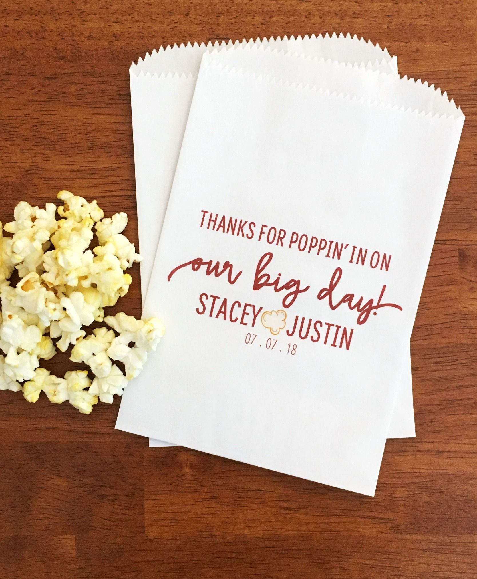 Fun Wedding Favor Idea Popcorn Bags Lined Personalized Bar Thanks For Popping By Snack