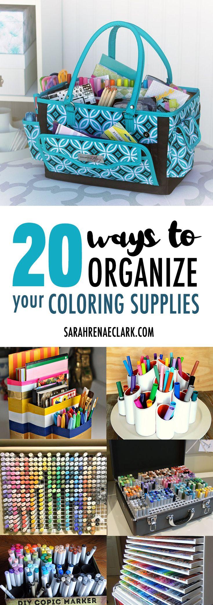 20 Clever Ways To Organize Your Coloring Supplies Pen Storage Diy Art Supplies Storage Marker Storage