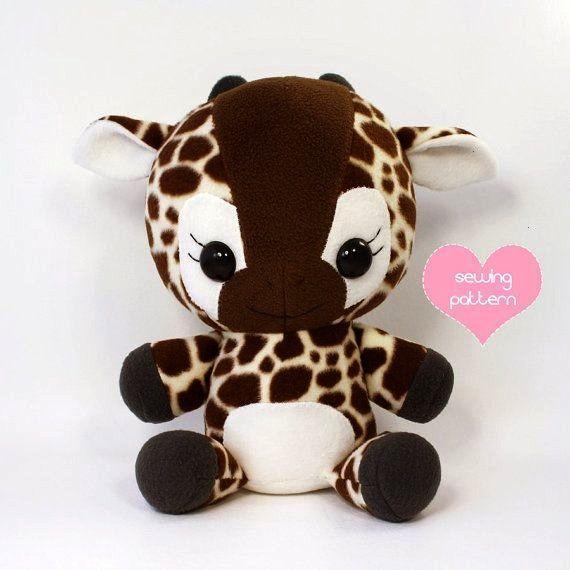 sewing pattern Giraffe stuffed animal - kawaii easy cute anime plush toy large cuddle size 16in Tea