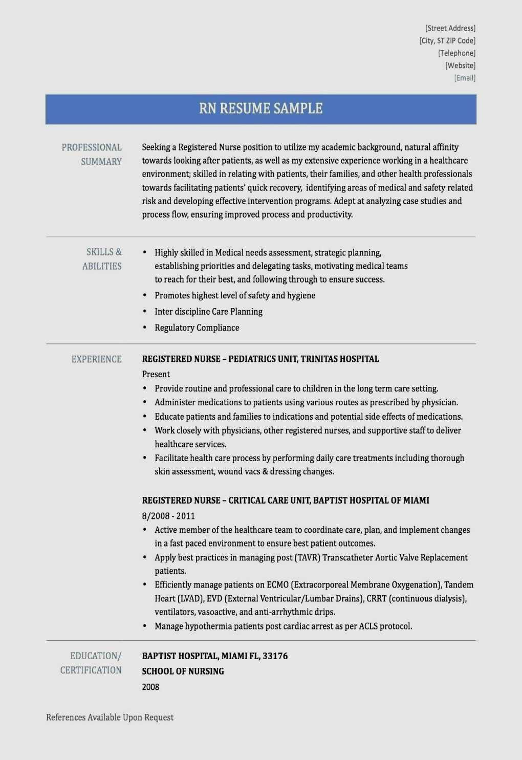 awesome High Quality Critical Care Nurse Resume Samples
