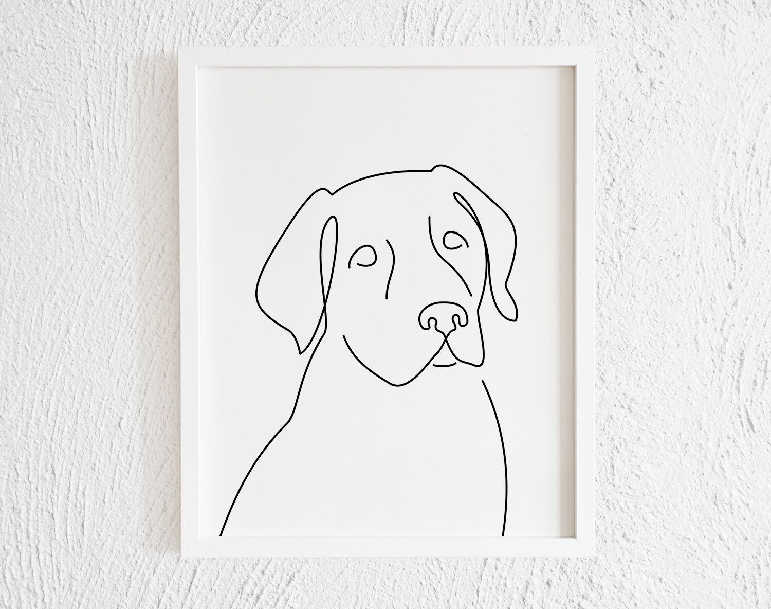 Photo of Labrador Retriever One line Drawing Print. Printable Black and White Modern Lab Doodle Wall Decor. Minimalist Dog Face Art Illustration