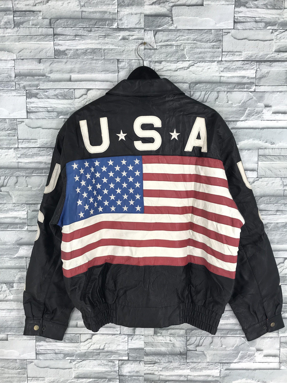 Vintage 80 S Usa Flag Jacket Medium Biker American Style Etsy Leather Jacket Stylish Jackets Black Pullover Sweater