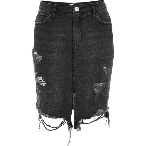 River Island Black washed hummingbird midi denim skirt (2.685 RUB ...