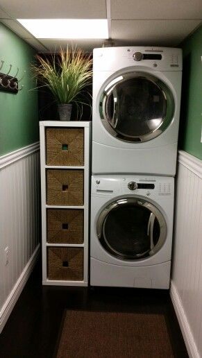 Love my small laundry room Stackables wainscoting ikea shelf and