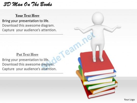 1113 3D Man on the Books Ppt Graphics Icons Powerpoint #Powerpoint - Powerpoint Books