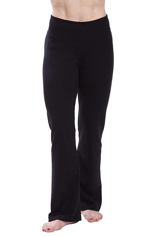Womens Ultra - Soft Comfortable High Waisted Bootcut Workout Yoga Pant - Black - CY12G534WNN - Sport...