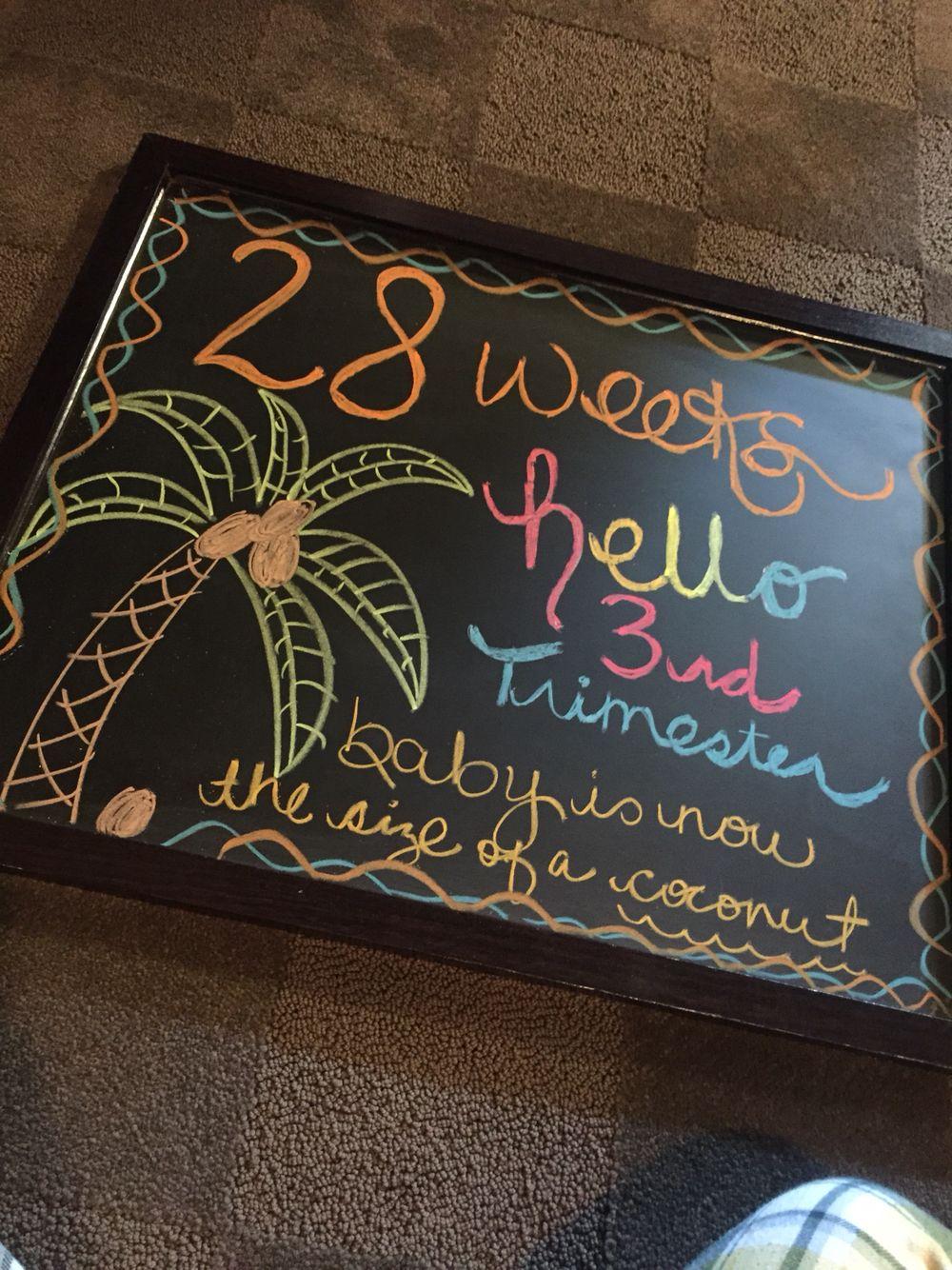 28 Weeks Pregnancy Chalkboard (3rd Trimester- Coconut)