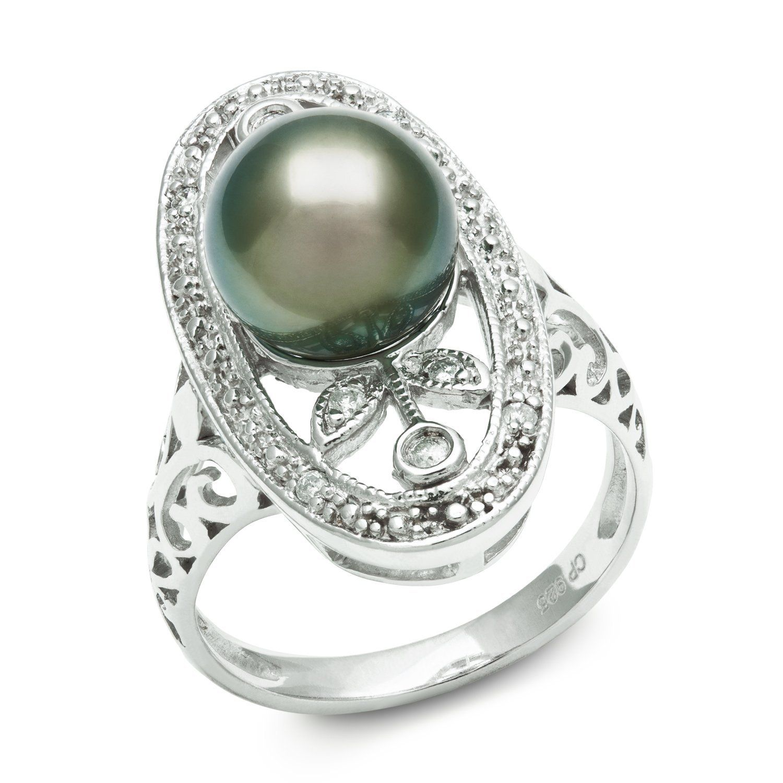 Pearl And Diamond Engagement Rings: Tahitian Black Pearl Engagement Ring