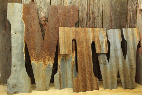 Custom Rusty Metal Letters Made From Rustic Tin Barn Roofing Etsy Rustic Letters Barn Tin Rustic Tin