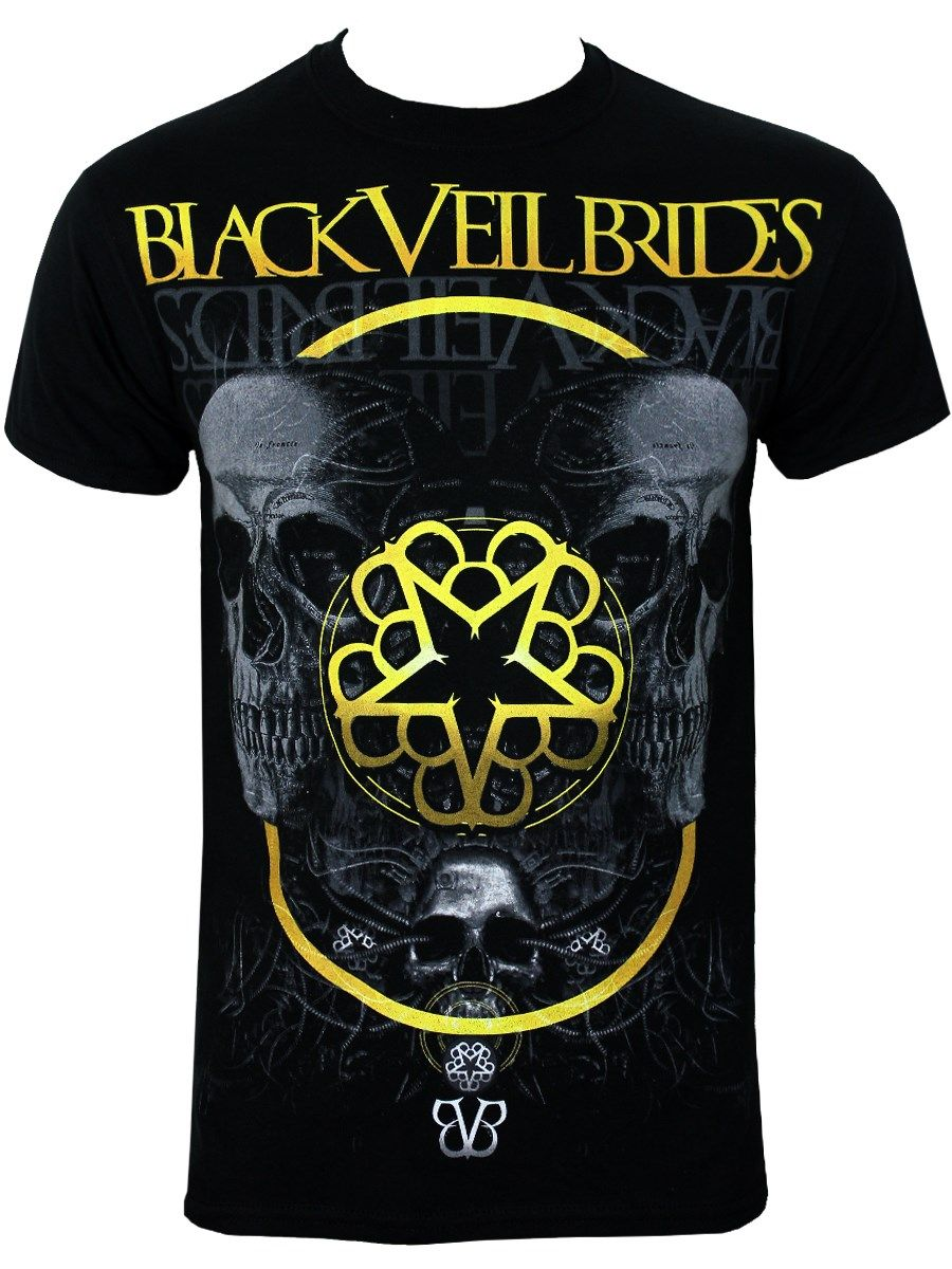 0c95df1a3f4 Black Veil Brides Grey Skull Men s Black T-Shirt