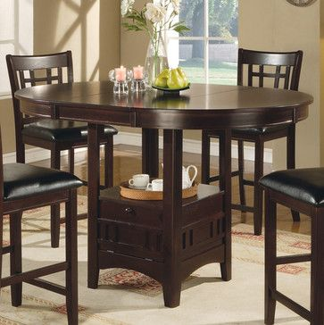 Counter height table in cappuccino 42 round pub table expands to counter height table in cappuccino 42 round pub table expands to 60 with the 18 leaf becomes oval watchthetrailerfo